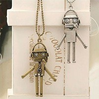 Fashion design Vintage Music Robot Pendant Long Chain Necklace rhinestone