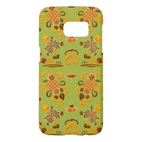 Retro Floral in Green, Orange, and Brown Samsung Galaxy S7 Case