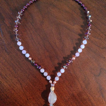 Rose Quartz Energy Healing - Love Stone Romantic Pendant Necklace - 14 Karat Gold - Valentine Gift - Love is in the Air!