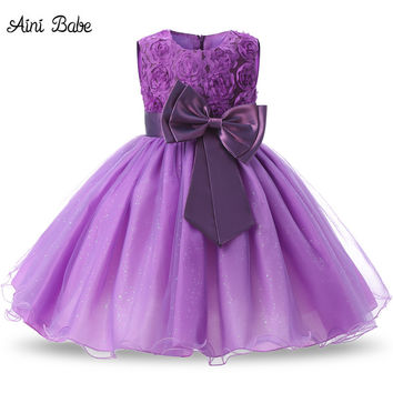 Aini Babe 1 Year Birthday Party Little Dress Baby Girl Christening Gowns Kids Events Party Wear Clothes Girls Boutique Clothing