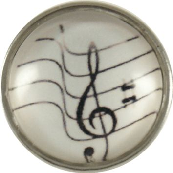 Snap Charm Music Note G Clef Glass Cover 20mm