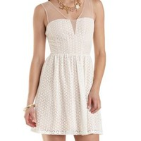 Mesh & Eyelet Lace Skater Dress by Charlotte Russe