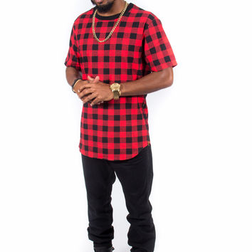 Plaid Flannel Zipper Side Extended Shirt (Red & Black)