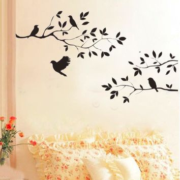 2015 New Black Bird Tree Branch  Wall Paper Decals Removable vintage kitchen Wall Sticker Home decoration  Living Room Stickers