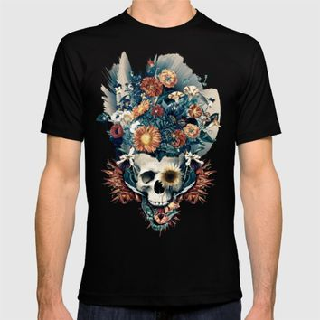 Skull and Flowers T-shirt by RIZA PEKER