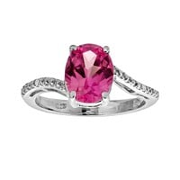 Sterling Silver Lab-Created Pink Sapphire & Diamond Accent Oval Ring
