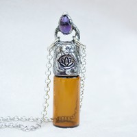 Amethyst Lotus Aromatherapy Necklace