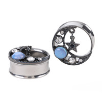 Steel Hematite Opal Moon & Star Plug 2 Pack