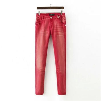 Korean Summer Women's Fashion Red Pen Pants [4920285828]