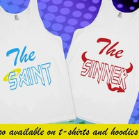 The Sinner The Saint Good Girl Bad Girl BFF Best Friends Matching Tank Top T Shirt