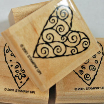 """Stampin Up Rubber Stamps """"Heart Art"""" 2001 Retired Hard to Find Rubber Stamps Scrapbooking MINT in Box Never Used Cardmaking Collage Crafts"""