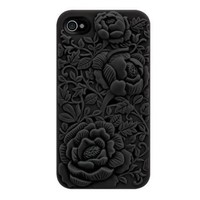 Unique Design Black Rose Embossing Case for iPhone 4/4S