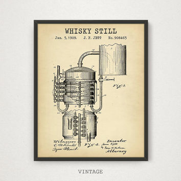 Whiskey Art, Whiskey Still Patent, Digital Download, Bar Decor, Making Whiskey Process, Whiskey Art Print, Liquor Spirits Drinks Wall Art