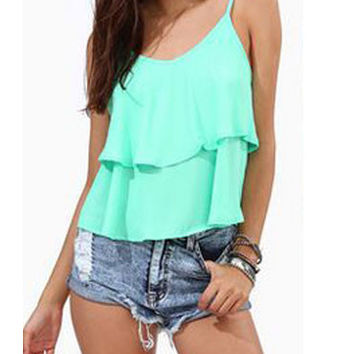 Halter Top Summer Frill Hem Chiffon Tank Top