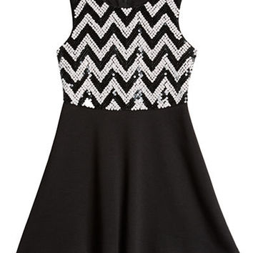 Ally B Girls 2-6x Sequined Chevron Bodice Dress