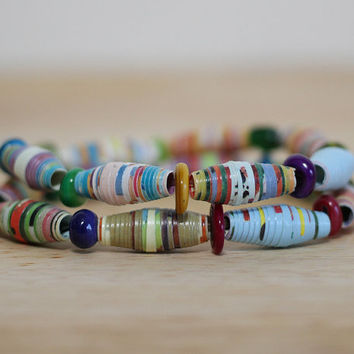 "Rainbow Bracelet, Handmade Recycled Paper Bead Bracelet Made with ""My First 100 Words"" Book"