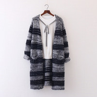 Striped hit the color Knitting Cardigan coat v-neck long sleeve pocket sweater mori girl