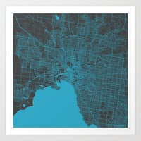 Melbourne map Art Print by Map Map Maps