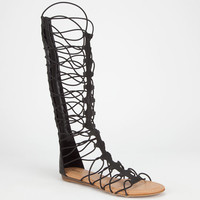 Bamboo Mason Womens Gladiator Sandals Black  In Sizes