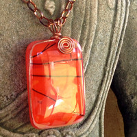 Orange Pendant, Copper Wire Wrapped, Black Accents, Handmade in USA