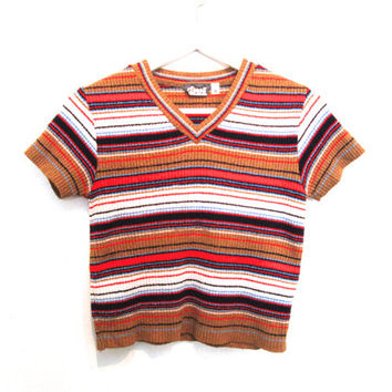 90's Striped V Neck Crop Top size -S/M