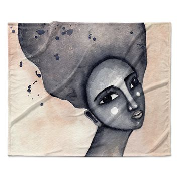 "Stacey-Ann Cole ""Yearning African American Art"" Beige Black Fleece Throw Blanket"