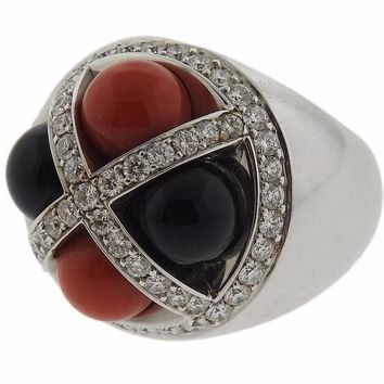 G. Bulgari Enigma Onyx Coral Diamond Gold Ring