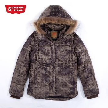 Fifth avenue men's winter clothing thermal check down coat thickening thermal outerwear top 24651009