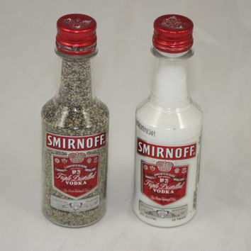 Smirnoff Triple Distilled 57 Vodka Salt & Pepper Shaker, Upcycled Liquor Bottles
