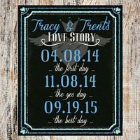 Wedding Sign / Wedding Decoration / Bride and Groom Love Story Sign / Chalkboard Wedding Sign / Print Yourself Digital File