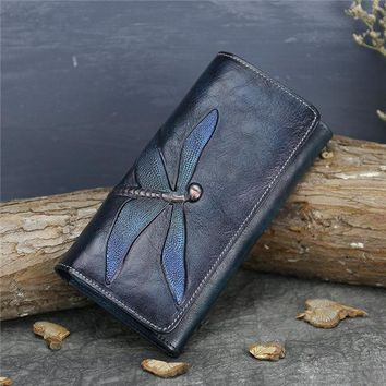 National Style Genuine Leather Trifold Long Wallet Card Holder Phone Bag Purse For Women