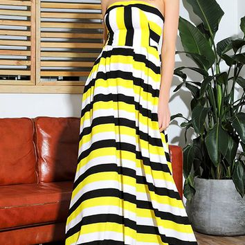 Changing Things Up Yellow Black White Stripe Pattern Strapless A Line Maxi Dress