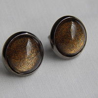 Black and Gold Shimmer Cabochon Earrings with Metallic Black Settings Womens Fashion Earrings Glass Cabochon Jewelry