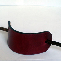 Leather hair barrette, size L, cherry red, hair stick, hair slide, hair pin