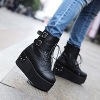 Hot Womens Rivet Punk Oxfords High Platform Flat Creeper Lace Up Shoes 2 colors