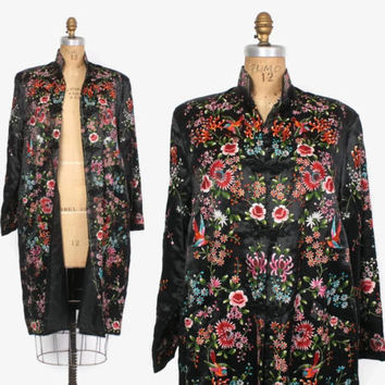 Vintage EMBROIDERED Silk JACKET / Heavily Embroidered Black Chinese Silk  Birds Floral Robe Coat
