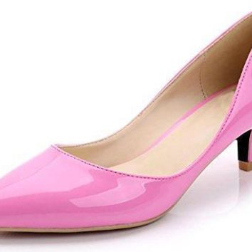 CAMSSOO Women's Pointy Toe Pumps Slip On Kitten Heels For Wedding Party Shoes