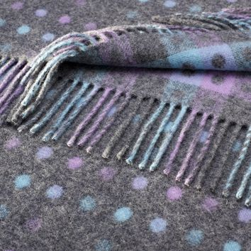 Rainbow Merino Lambswool Multi Spot Grey Pastel Throw Blanket