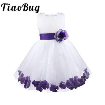 TiaoBug Kids Toddler Infants Girls Flower Tulle Tutu Petals Dresses for Formal Prom Gown Communication Pageant Party Bridesmaid