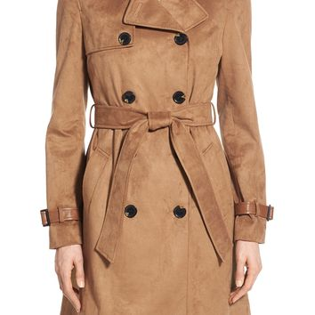 Via Spiga Double Breasted Faux Suede Trench Coat | Nordstrom