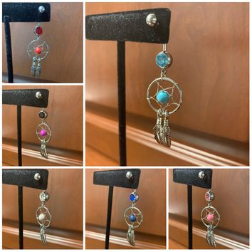Dream Catcher Rhinestone Stone Feather Belly Button Ring Navel Body Piercing Gift Present