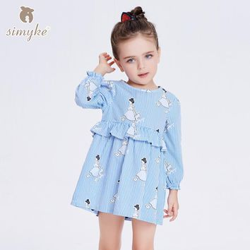 Simyke Children's Dress For Girl Spring Girls Strip Dress With Long Sleeve 2018 New Kids Cartoon Clothing Toddler Clothes W8298