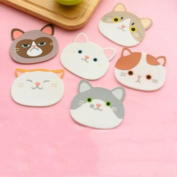 New Silicone Cartoon Animal Cat Cup Coaster Nonslip Place Mat Pads Cup Cushion Minions Tea Cup Holder