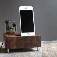 Smartphone charging station for iPhone Samsung Galaxy butcher block from walnut wood with triple electron tubes - rounded edges