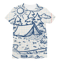 Wilderness Tent by a River Sketch AWDis Sublimation T-Shirt