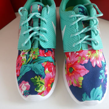 custom nike roshe run sneakers womens aqua color athletic shoes with fabric floral and blinged with swarovski crystals