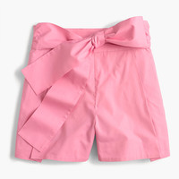 Tie-waist short in cotton poplin : Women shorts | J.Crew