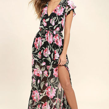 Where Wildflowers Grow Black Floral Print Maxi Dress