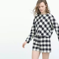 Black And White Plaid Long Sleeve Blouse