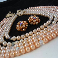 ON SALE Vintage Peach & Off White Faux Pearl 5 Strand Necklace Cluster Earring Set, 1950's 1960's Collectible Signed Japan Demi Jewelry